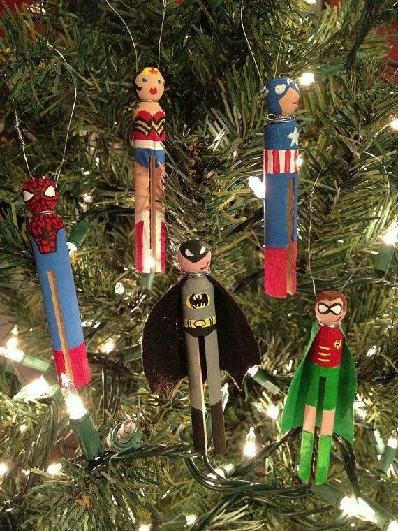 Super Heros wooden clothes pin ornaments