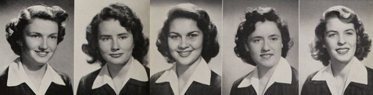 1953 hairdos, from the yearbook at Immaculate Heart High School in Los Angeles, California.  #ImmaculateHeart #LosAngeles #California #yearboook #1953