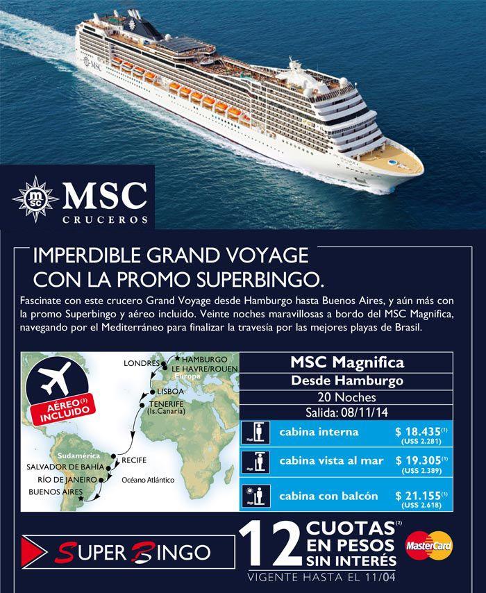 Crucero #MSC: Super Promo crucero de 20 noches, ¡Hamburgo-Buenos Aires con aéreo!