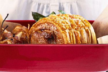 Pork roast with prosciutto pears recipe, NZ Woman's Weekly – Before salting, dry the pork fat. Massage salt into the skin well then chill, uncovered, for 2-3 hours prior to cooking. – foodhub.co.nz
