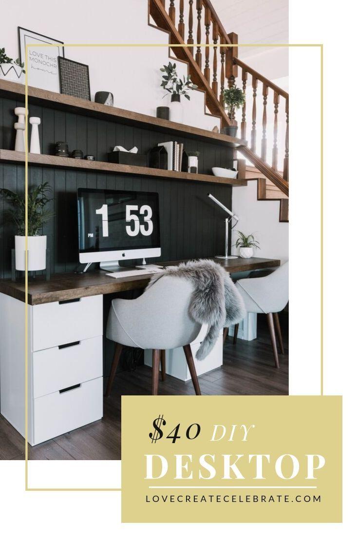 40 Diy Wood Desktop Matching Floating Shelves Love Create Celebrate Home Office Design Home Pallet Projects Furniture