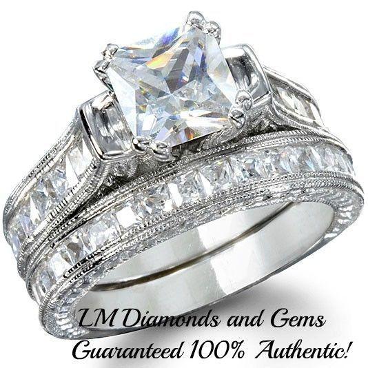 14K White Gold Genuine Sterling Silver Wedding Set Princess Diamond Bridal Rings #notapplicable