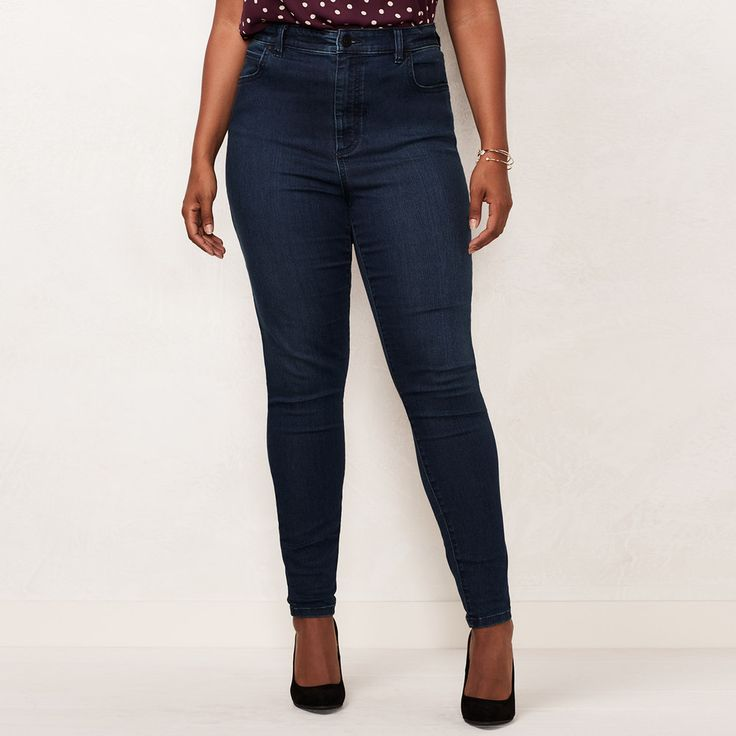 Plus Size LC Lauren Conrad High-Waist Jeggings, Women's, Size: 20W Short, Dark Blue