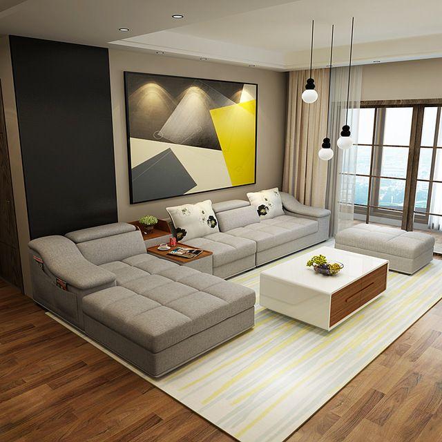 Mobília da sala de estar sofás de tecido em forma de L de canto secional set sofá de design moderno para sala com pufe chaise longue