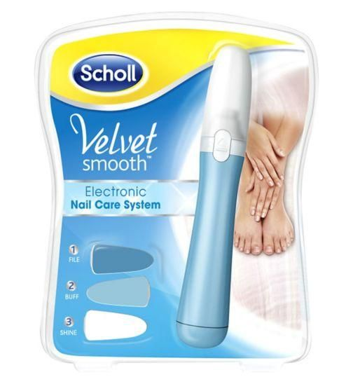 Scholl's Velvet Smooth™ Electronic Nail Care System is the perfect and effortless way to keep your toe and finger nails looking healthy and shiny. #skin #skincare #beauty