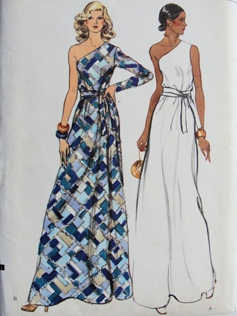1970's Vogue Dress Pattern.  Do we think I can sew one up for one of the many weddings I will be attending this summer?  Pattern #8839!