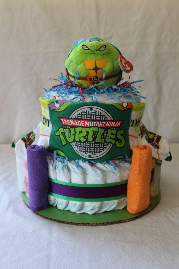 Teenage Mutant Ninja Turtles Themed Diaper Cake on Etsy, $50.00