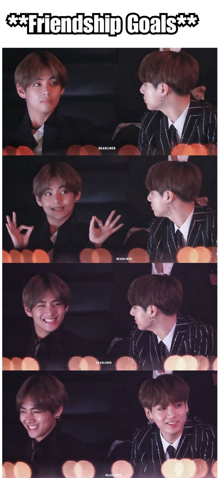 """You can see the """"jesus christ this is my bestfriend"""" in Jungkooks smile & eyes😂😂"""