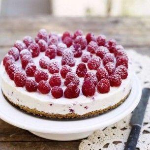 Vitchoklad & hallon cheesecake