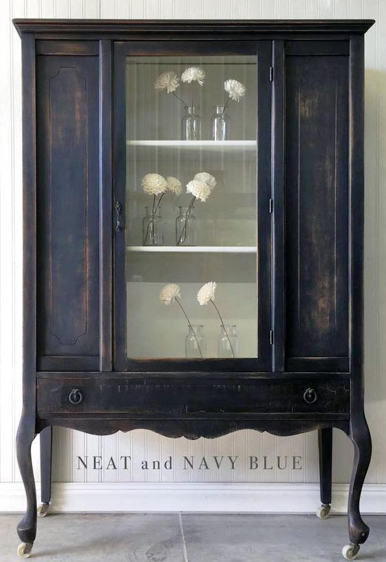 Distressed GF Lamp Black Milk Paint Hutch | General Finishes Design Center: