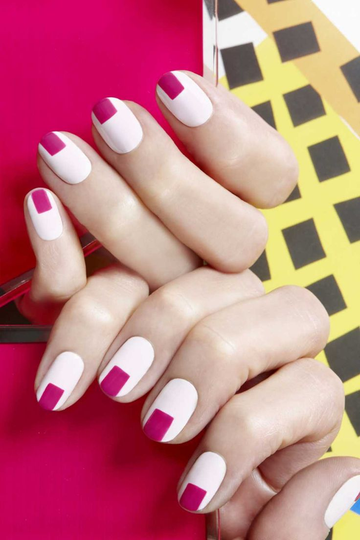 White French mani with pink squares :: one1lady.com :: #nail #nails #nailart #manicure