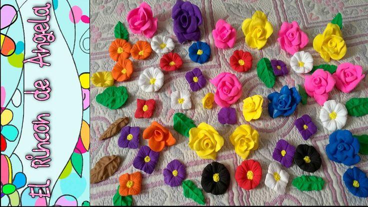 DIY  foami o goma eva moldeable  Como hacer flores y hojas con foamy mol...