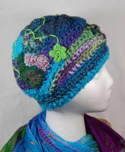 fun idea, no pattern - Free Form Crochet Hat from wildlywhimsical (no longer shown on etsy page)