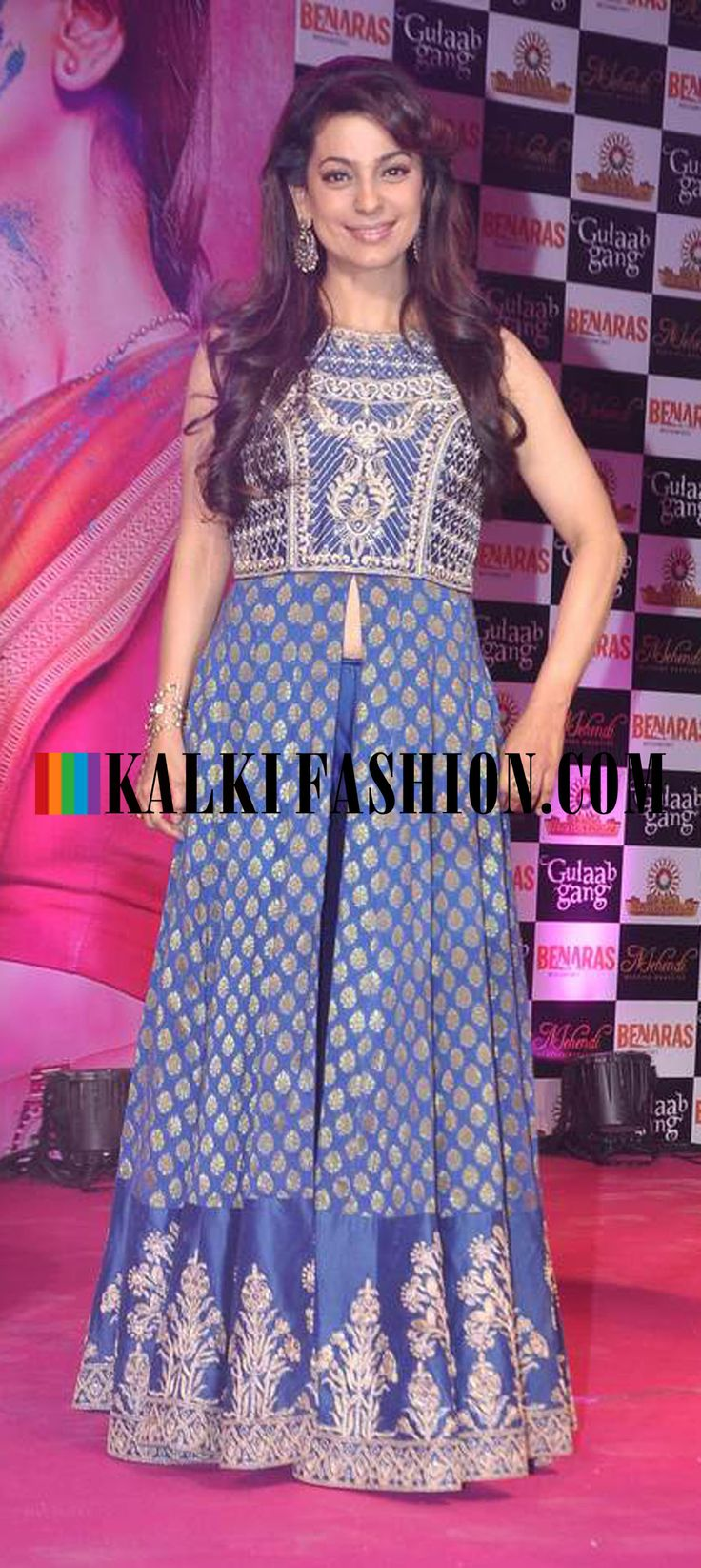 http://www.kalkifashion.com/ Juhi Chawla in Anita Dongre's blue outfit attends the press meet of her upcoming movie Gulab Gang