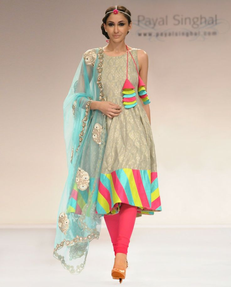 Colorful Ash Grey Benarsi salwar Suit with Net Dupatta