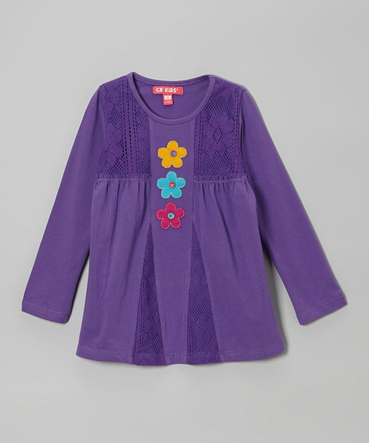 Take a look at this Purple Flower Lace Tunic - Toddler & Girls on zulily today!