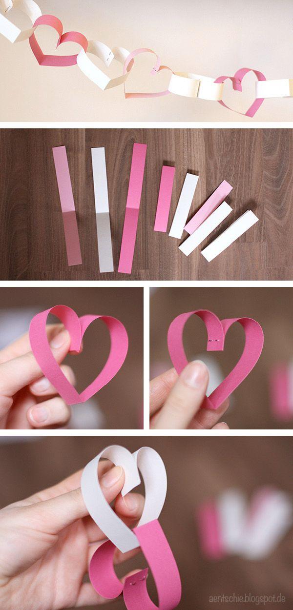DIY Herzchengirlande für den Valentinstag oder für Hochzeiten von www.aentschiesblog.com #DIY #Valentinesday #Love #Wedding