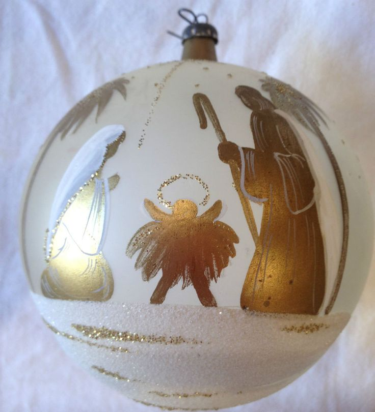 Holy Family With Angel Hair Glass Ornament: Beautiful Large Round Glass Ornament WHITE WITH GOLD