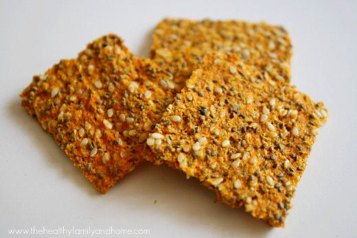 Raw-Vegan-Carrot-and-Flax-Crackers (substitute red pepper for tomato and leave out lemon)