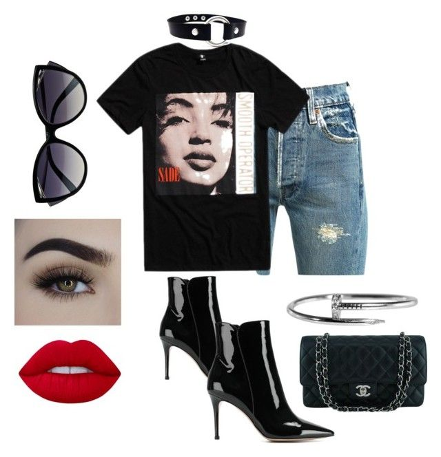 """Untitled #177"" by ezerys on Polyvore featuring Levi's, Gianvito Rossi, Chanel, Cartier, La Perla and Lime Crime"