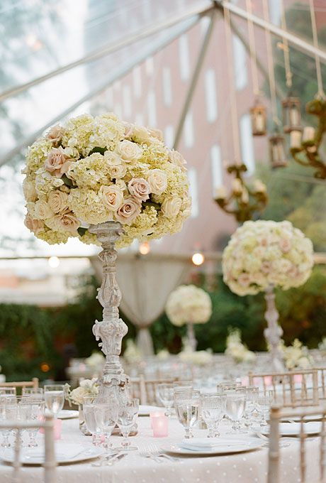Tall, white hydrangea and rose wedding reception centerpiece (Photo: Kate Headley)