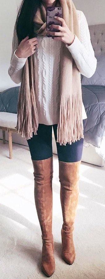 #winter #fashion /  White Knit / Beige Fringe Scarf / Black Skinny Leggings / Brown OTK Boots
