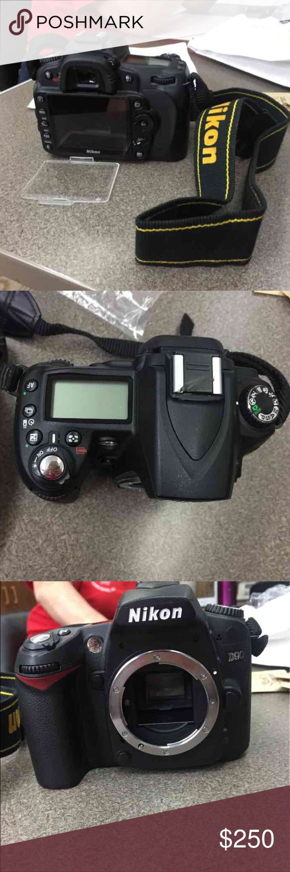 Nikon D90 Body Only Does NOT work! Original price is about 600-700 Selling for $250 or best offer. Comes with a screen cover and the strap. No memory care or battery. Most likely going to get sold for parts.  Message me with an offer. Nikon Other