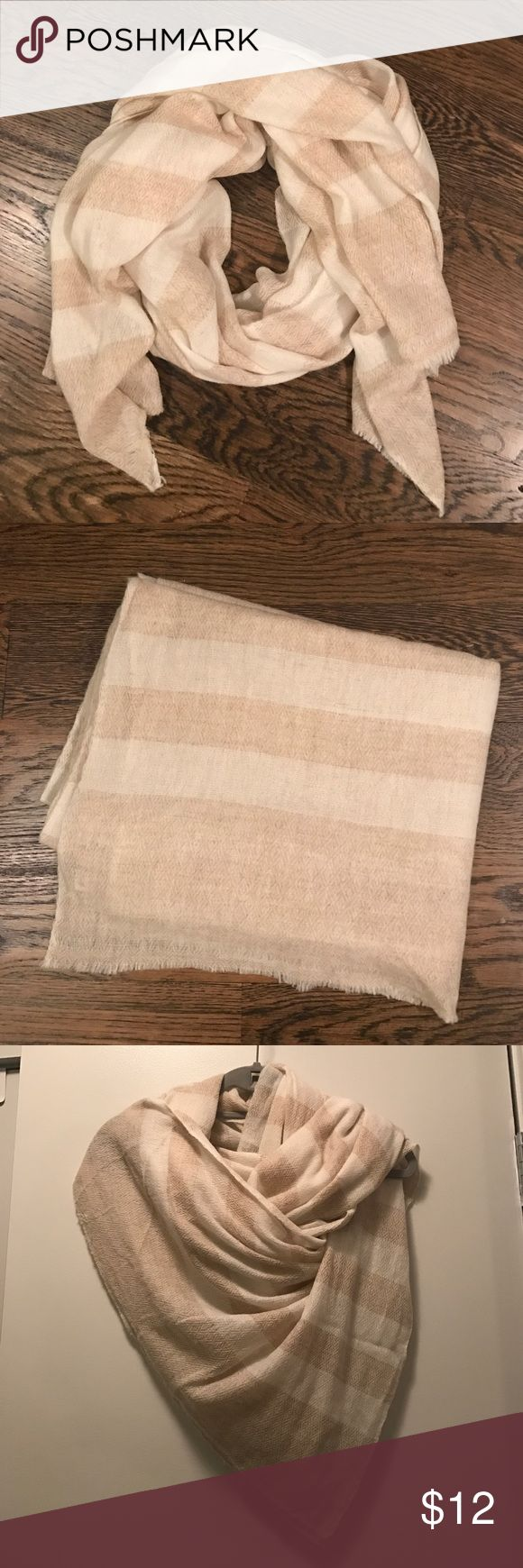100% Cashmere Beige striped scarf Never worn, brand new without tags Accessories Scarves & Wraps