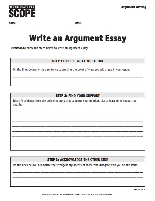 scholastic scope argument essay checklist Sharpen students' ability to express their ideas with persuasive writing activities  use these resources to help students analyze essay forms and techniques here are some favorites: • introduction to persuasive essay (pdf) • writing a well-crafted argument (pdf.