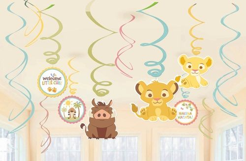 """Perfect for hanging from the ceiling, these Lion King Baby Hanging Swirl decorations will help set the mood for your shower. Package containes 6 plastic swirl decorations - 3 feature 7"""" animal cutouts, and 3 feature 5"""" circle cutouts that say """"Welcome Little Cub"""" and """"Hakuna Matata!"""""""
