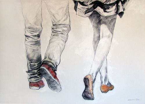 shoe walking gestural drawings | What will I do when I see him as in for real??