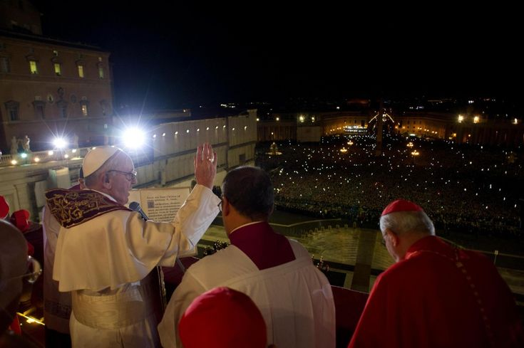 Pope Francis addresses the expectant crowd in St. Peter's Square after his election. 13 March 2013