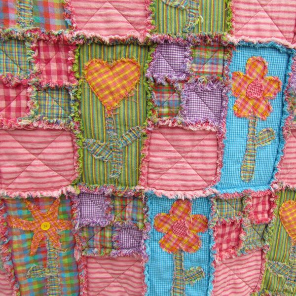 Rag Quilt Instructions including a chart with how much material is needed for each size