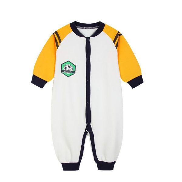 Pyjama football blanc et orange en coton pour bébé