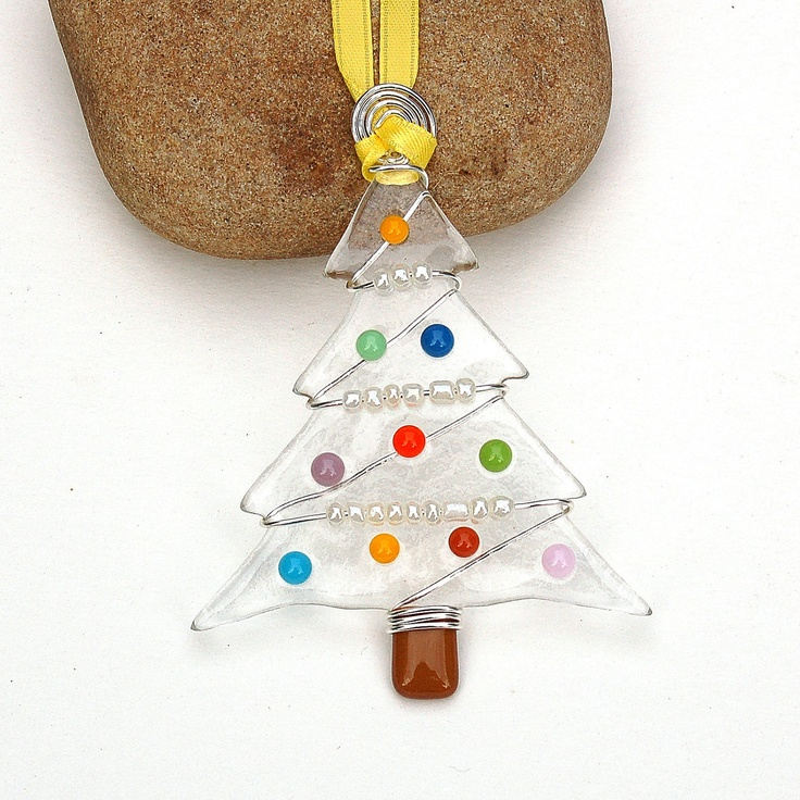 Fused Glass Christmas Tree Ornament - Suncatcher. $14.00, via Etsy.