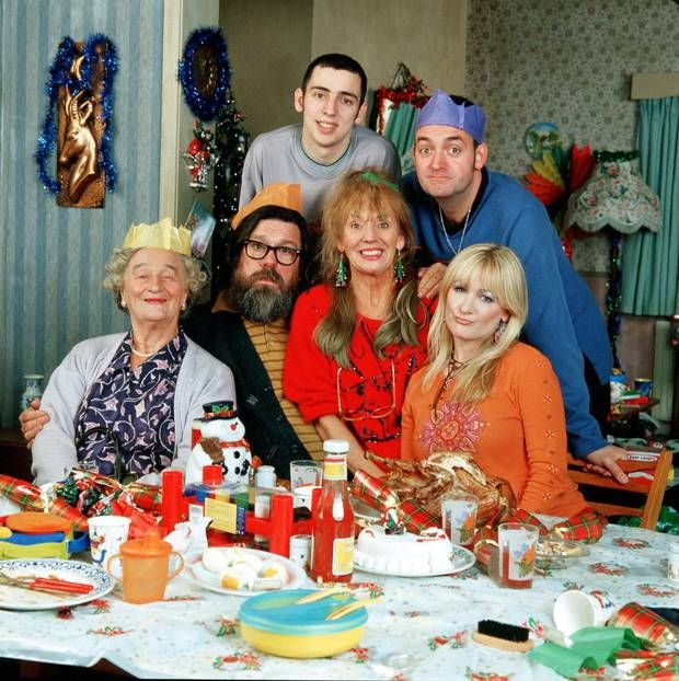 Caroline Aherne with Royle Family cast members (from left) Liz Smith, Ricky Tomlinson, Ralf Little, Sue Johnston and Craig Cash