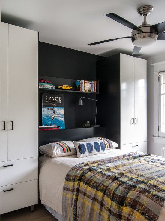 Modern and Italian Fitted Wardrobe Ideas: Interesting Transitional Kids Bedroom With Black And White Modern Fitted Wardrobe Ideas Also Modern Single Bed Also Beige Sheet And Vintage Blanket Style With Gingham Pattern Also Modern Ceiling Fan ~ kitchentablecomics.com Wardrobe Ideas Inspiration