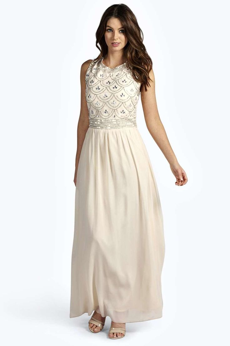 Boutique Sienna Embellished Top Chiffon Maxi Dress at boohoo.com