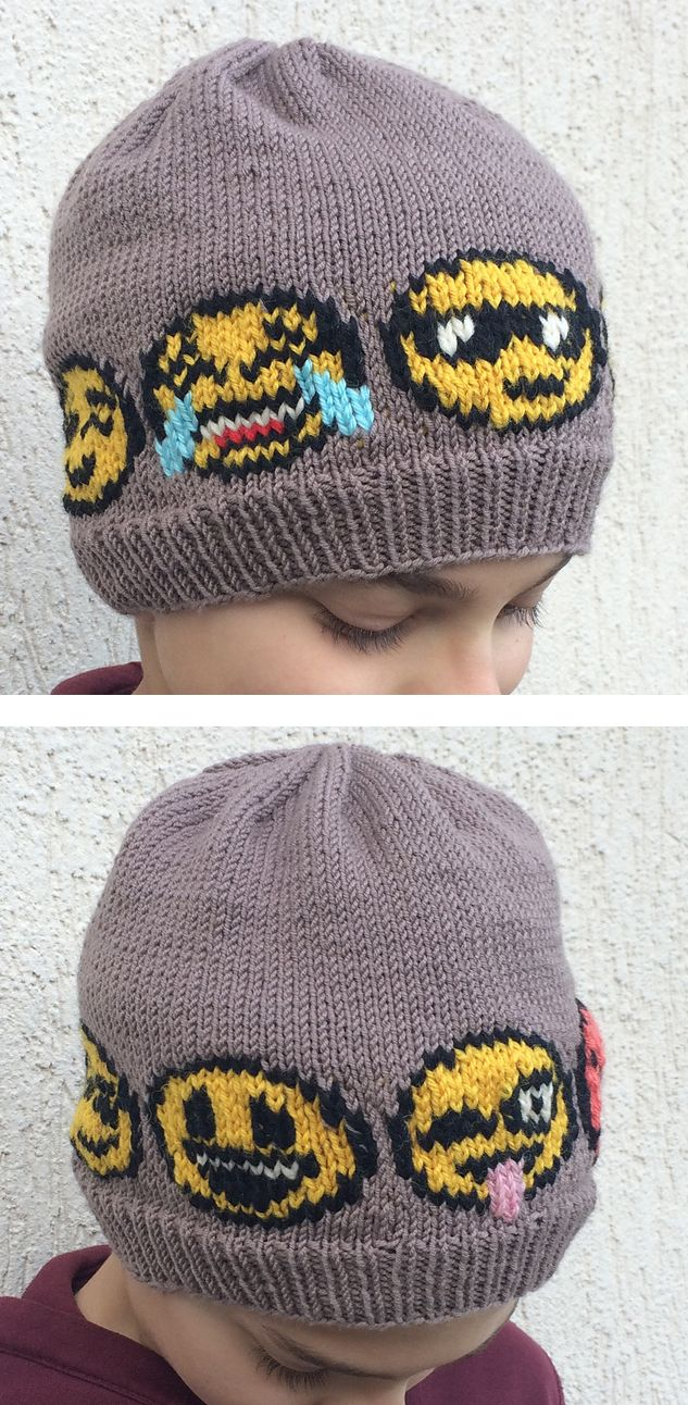 Knitting Pattern for Emoji Hat - The pattern has charts for 12 different emojies. Knit the emojies by stranded knitting, or embroider them on by using duplicate stitch explained in the pattern. The patterns also includes an optional ponytail / messy bun opening. Sizes: Toddler, (Child, Teenager), Adult. Designed by Yvonne B. Thorsen. Pictured project AlessandraVaccari