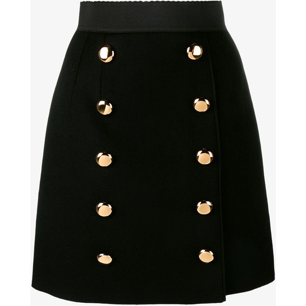 Dolce & Gabbana A-Line Skirt With Gold Buttons (£705) ❤ liked on Polyvore featuring skirts, saias, elastic waist skirt, leopard skirt, knee length a line skirt, wool skirt and elastic waist a line skirt