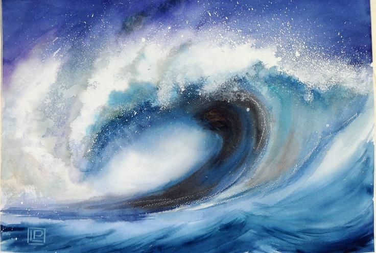"""""""L'onda sporca"""" acquerello di Lorenza Pasquali 35x51 N.D."""