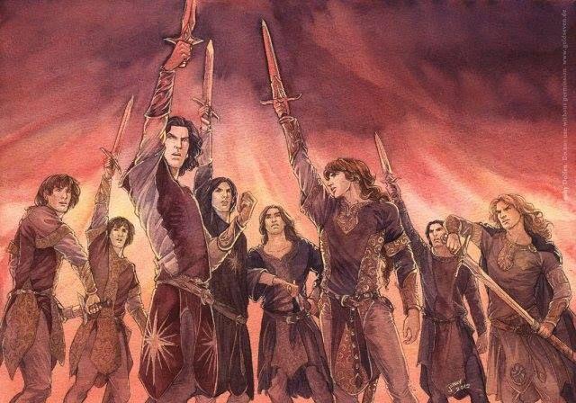 ~~ Finrod  Uma das coisas mais decisivas de toda a historia da Terra Média de Tolkien. O Juramento Fëanor; Esse texto por escolha do C;Tolkien ficou fora do Silmarilion, porém no  The History of Middle-earth, Morgoth's Ring. sabemos quais palavras foram ditas.   Seja ele amigo ou inimigo, seja ele sujo ou limpo, cria de Morgoth ou brilhante Vala, Elda ou Maia ou Sucessor, Homem ainda não nascido sobre a Terra-média, nem lei, nem amor, nem liga de espadas, terror nem perigo, nem o próprio…