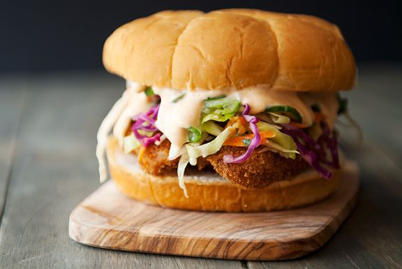 Asian chicken sandwich: chicken katsu, Asian cabbage slaw, Japanese cucumber salad, Sriracha mayo.