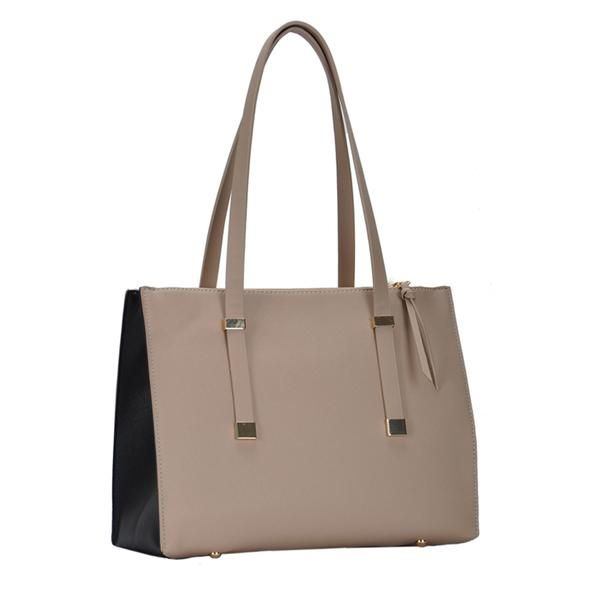 8222d011ee1 Alexis Vegan Leather Tote – Taupe/Black | Kind Style Shop Handbags ...