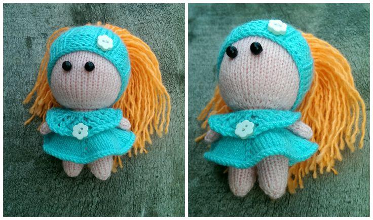 Вязаная куколка Кнопочка. Рост 10 см. Вязаное детство