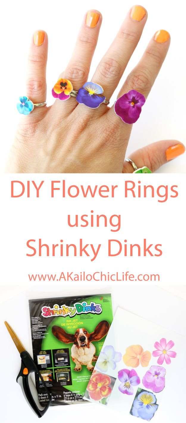 Learn how to use Shrinky Dink paper to create the cutest flower rings - easy…