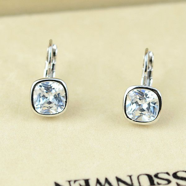 Earrings - Platinum or 18K Rose Gold Plated, Austrian Crystal