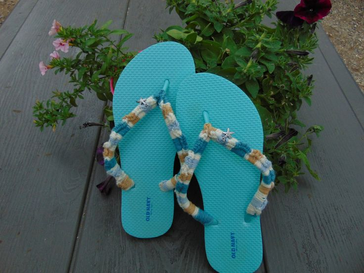 Mint Green/Teal Hand Crocheted Old Navy Flip Flops Silver coloured Star fish Charm Tan, Cream and Mint Green/Teal Cotton Varigated Yarn by MitchADoodle on Etsy