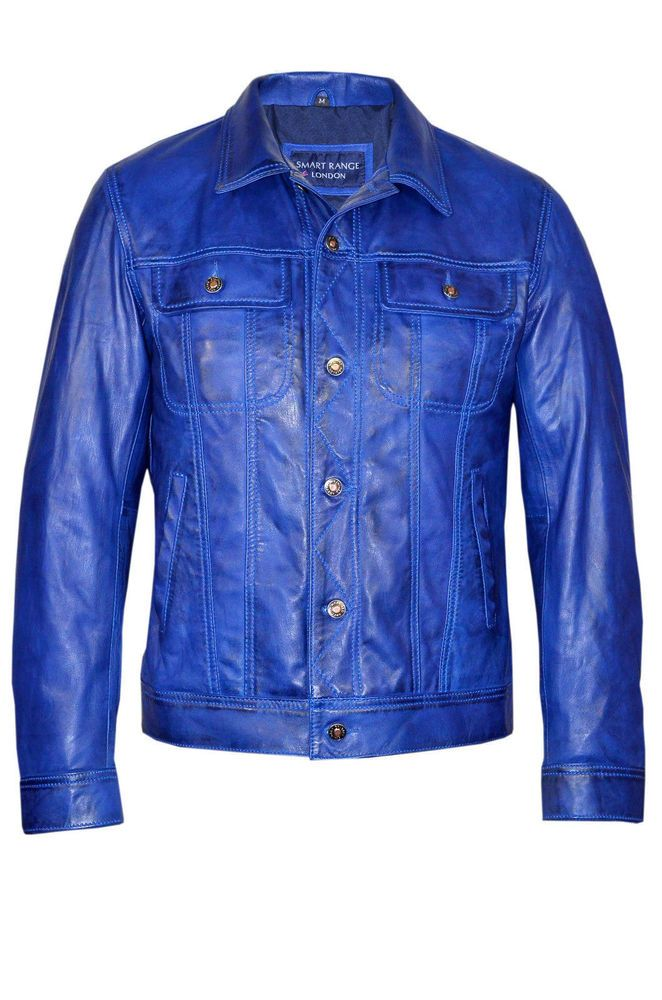 MEN LEATHER SHIRT GENUINE LAMBSKIN LEATHER POLICE MILITARY STYLE CAUSAL SHIRT 19…