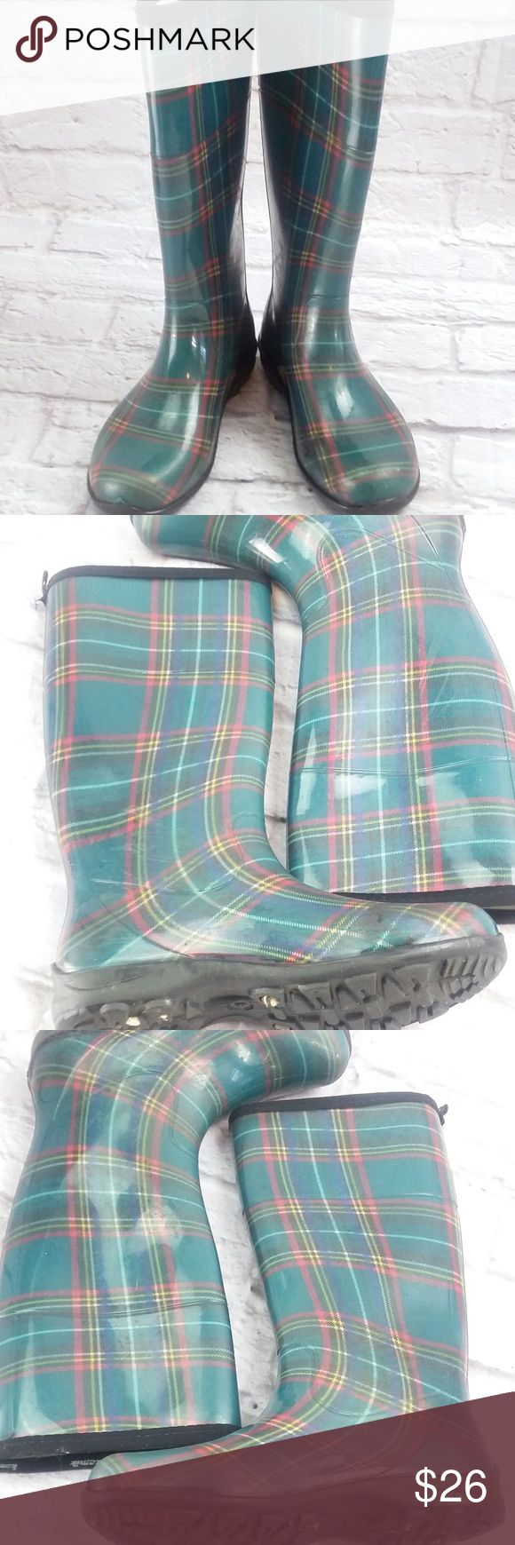 "Edinburgh' Plaid Rain Boot (Women), Green size 8 Plaid print waterproof rubber upper Heel loop tab 12½"" shaft height, pull on 14½"" calf circumference Round toe Fabric lining 1"" molded heel Treaded rubber sole good used condition, some scuffs  size 8  Please message with any questions! Kamik Shoes Winter & Rain Boots"